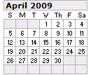 Events Calender April 2009 New York City