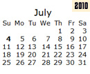 Events Calender July 2010 New York City