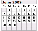 Events Calender June 2009 New York City