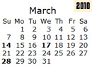 Events Calender March 2010 New York City