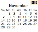 Events Calender November 2010 New York City
