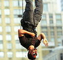 David Blaine Hanging upside-down in New York City